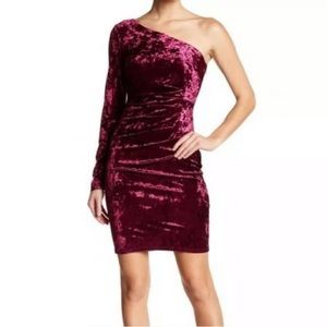 Eliza J One Shoulder Long Sleeve Velvet Dress